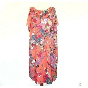 Nicole Miller Ruffle Frilled  Floral Dress 14